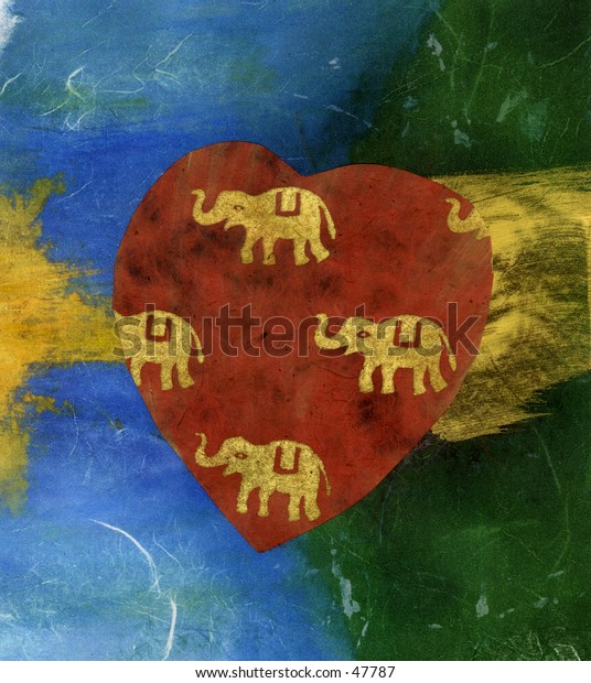 Heart with elephants. Mix media collage