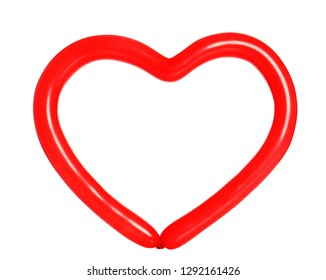Heart figure made of modelling balloon on white background