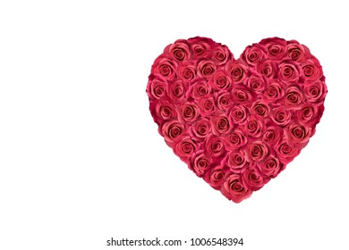 Heart filled with red roses isolated on white.