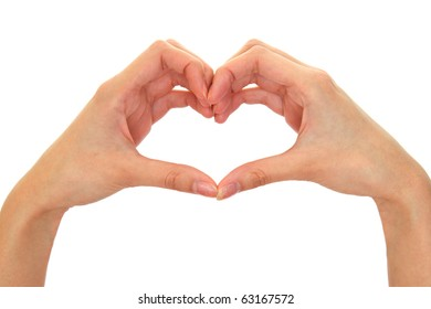Heart from fingers isolated on the white