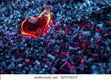 Heart in the fire among the coal. Symbol of broken heart or burned heart