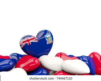 Heart with flag of falkland islands on top of colourfull hearts isolated on white. 3D illustration