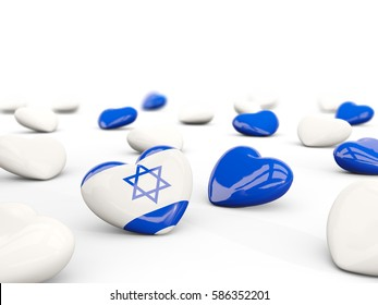 Heart with flag of israel isolated on white. 3D illustration