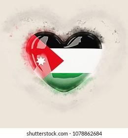 Heart with flag of jordan. Grunge 3D illustration