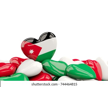 Heart with flag of jordan on top of colourfull hearts isolated on white. 3D illustration