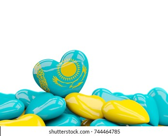 Heart with flag of kazakhstan on top of colourfull hearts isolated on white. 3D illustration