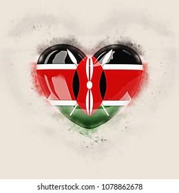 Heart with flag of kenya. Grunge 3D illustration