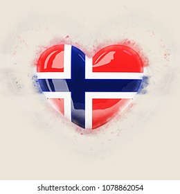 Heart with flag of norway. Grunge 3D illustration