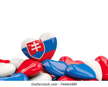 Heart with flag of slovakia on top of colourfull hearts isolated on white. 3D illustration