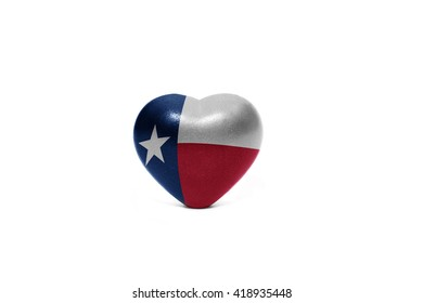 heart with flag of texas  state on the white background