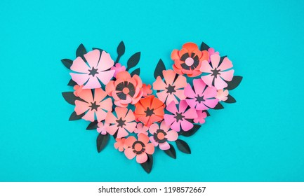 Rose paper handicraft images stock photos vectors shutterstock heart of flower and leaves made of paper on a turquoise background handwork favorite mightylinksfo