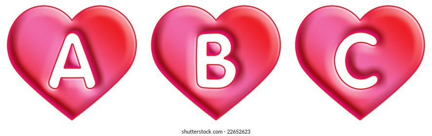 Heart Font - letters - A, B & C
