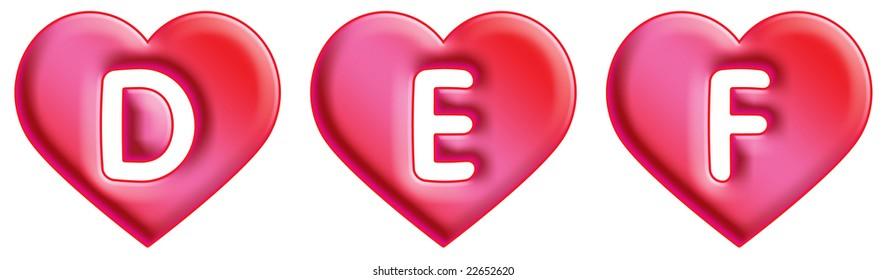Heart Font - letters -D, E & F