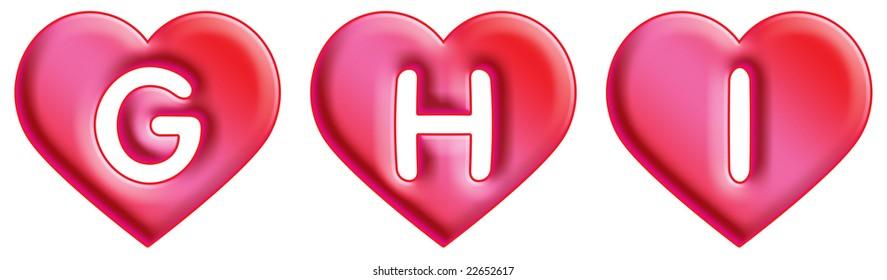 Heart Font - letters - G, H & I