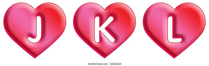 Heart Font - letters - J, K & L