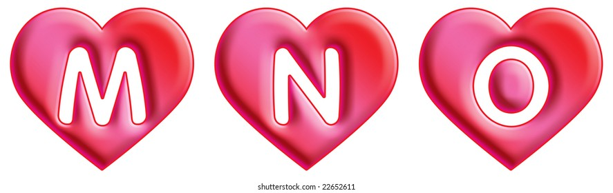 Heart Font - letters - M, N & O