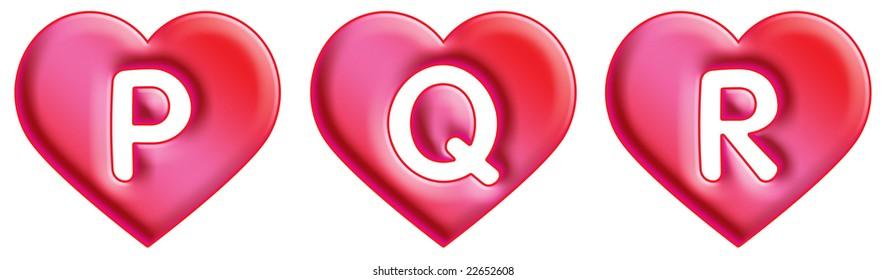 Heart Font - letters - P, Q & R