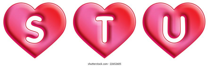 Heart Font - letters - S, T & U