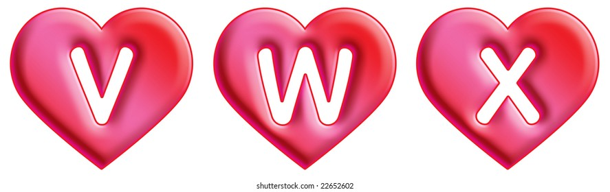 Heart Font - letters - V, W & X