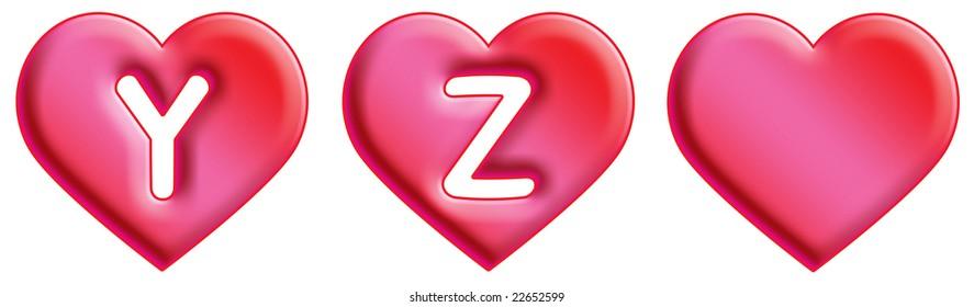 Heart Font - letters - Y & Z