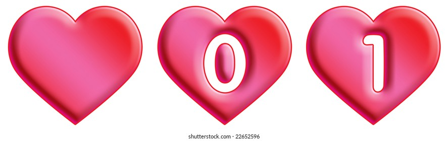 Heart Font - numbers - 1 & 2