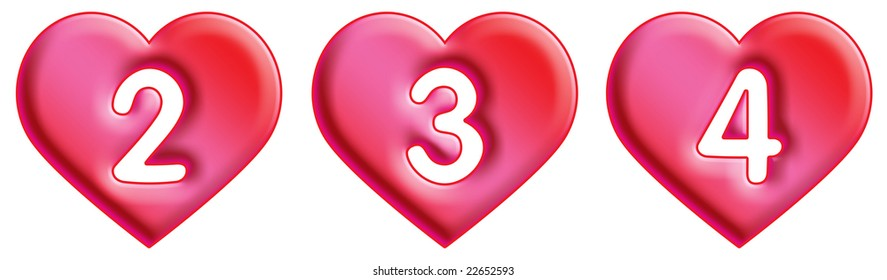 Heart Font - numbers - 2, 3 & 4