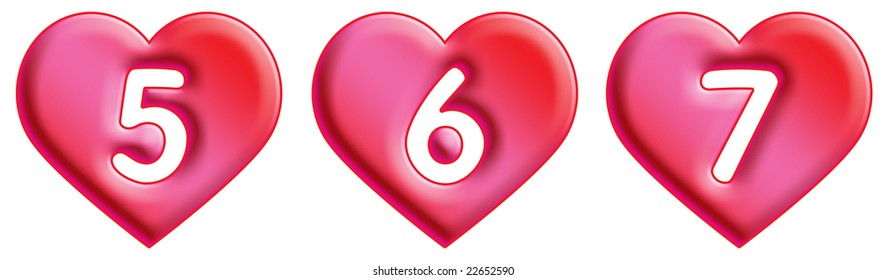 Heart Font - numbers - 5, 6 & 7