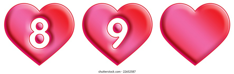 Heart Font - numbers - 8 & 9