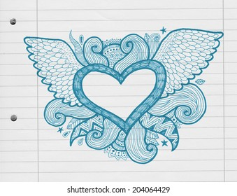heart frame with ornaments and wings