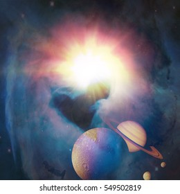Heart Galaxy. Love in Space. With sunlight and planets in background. Artist concept. Elements of this image furnished by NASA.