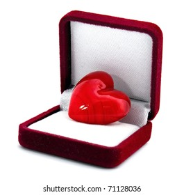 Heart in the gift box isolated on white