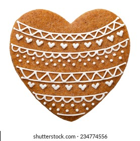 Heart gingerbread cookie for Christmas isolated on white background