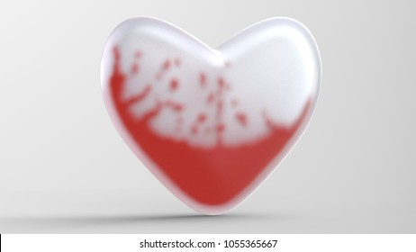 heart glass with blood liquid and drops isolated illustration 3d illustration