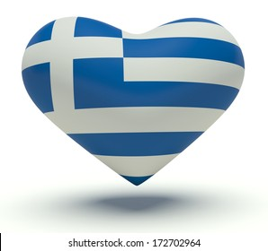 Heart with Greece flag colors. 3d render illustration.