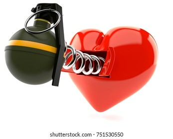 Heart with hand grenade isolated on white background. 3d illustration