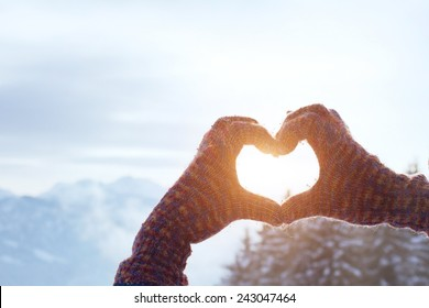 heart with hands, love winter concept