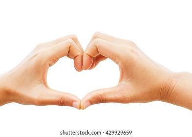 Heart hands on white background