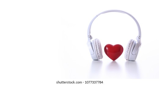 heart and headphone on the white background