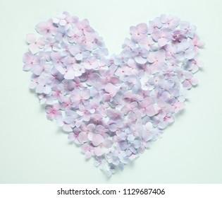 Heart from hydrangea petals