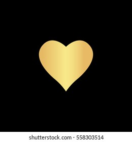 Heart Icon Illustration. Flat simple gold pictogram on black background