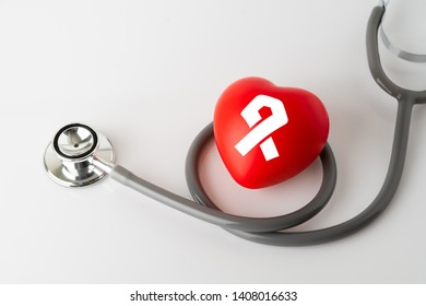 Heart icon and stethoscope, medical & health care concept
