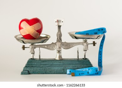 Heart injury model and blue tape measure in pan weight scale on white background.Dieting and health care concept.