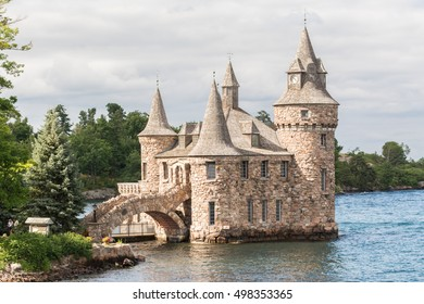 HEART ISLAND, ALEXANDRIA BAY, NEW YORK, US - 16 JULY 2016: Boldt Castle Power House and Clock Tower - built in style of a medieval tower to house two generators to provide electricity to the island