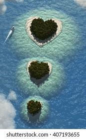 Heart Islands 3D Render