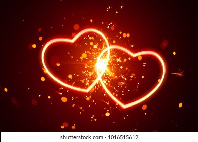 heart lights with sparks background