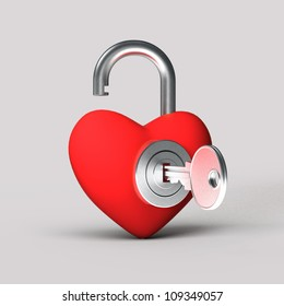 heart in a lock with a key