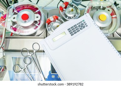 Heart lung machine and blank writing pad