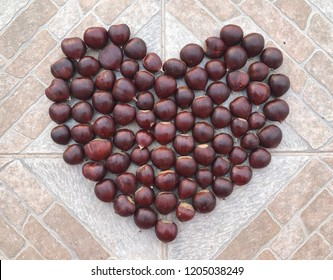 A heart made of chess nuts on a stone background