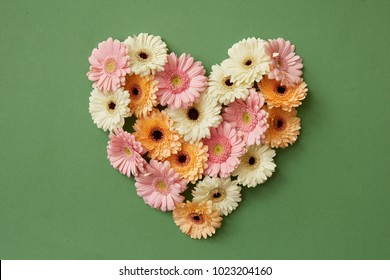 Heart made from fresh gerbera flowers