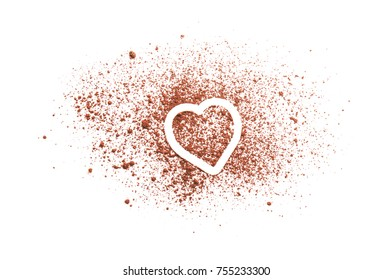 Heart made of healthy cocoa powder on white background